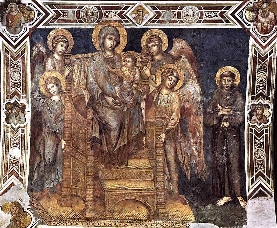 Cimabue, Dziewica wmajestacie (zdzieciątkiem, aniołami iśw.Franciszkiem), Basilica di San Francesco, Asyż
