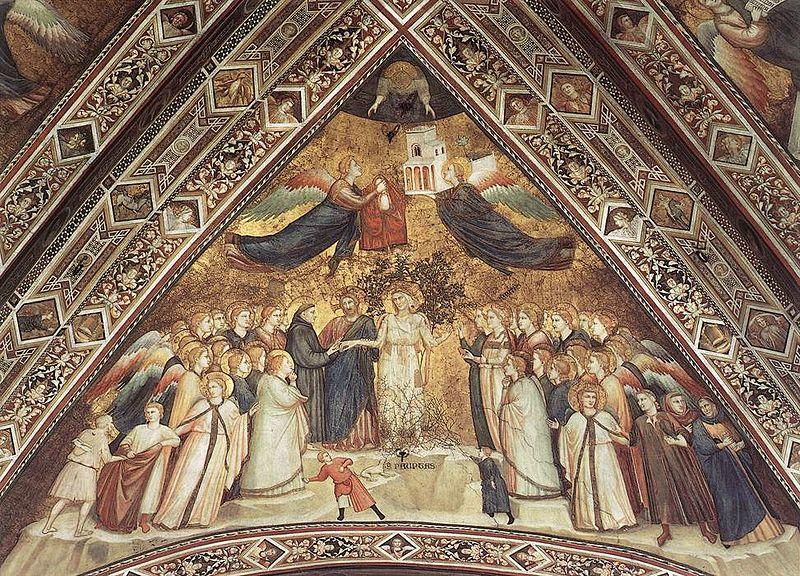 Giotto, Zaślubiny św.Franciszka zSiostrą Biedą, Bazylika św.Franciszka wAsyżu, kościół dolny