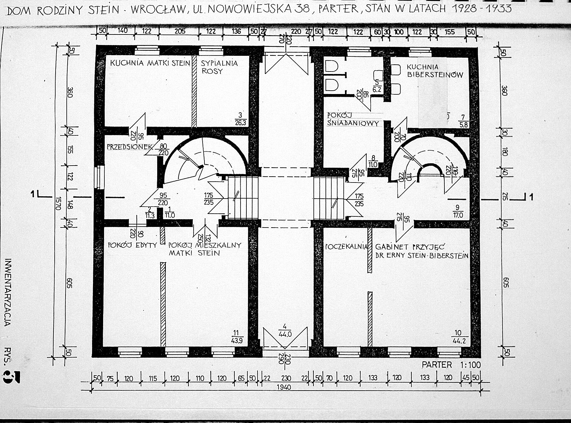 Plan domu Steinów przy Michaelisstrasse 38 weWrocławiu wlatach 1928-1933, parter, archiwum Towarzystwa im.Edyty Stein weWrocławiu.
