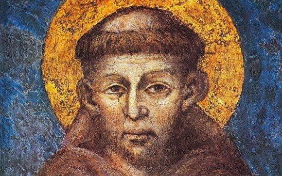 Cimabue, Św. Franciszek - fragment fesku zBazyliki św.Franciszka wAsyżu (kościół dolny).