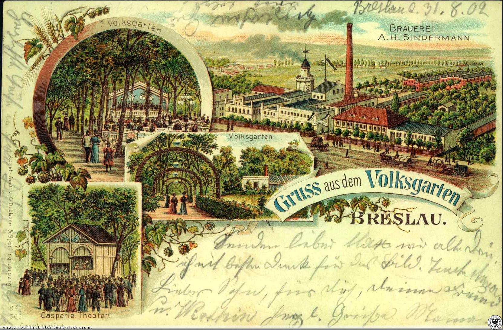 Browar Sindermanna orazVolksgarten, pocztówka