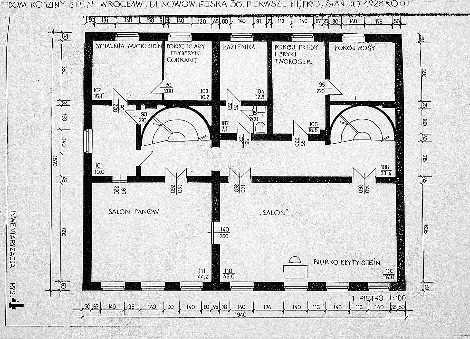 Plan domu Steinów przy Michaelisstrasse 38 weWrocławiu przed1928 rokiem, Ipiętro, archiwum Towarzystwa im.Edyty Stein weWrocławiu.