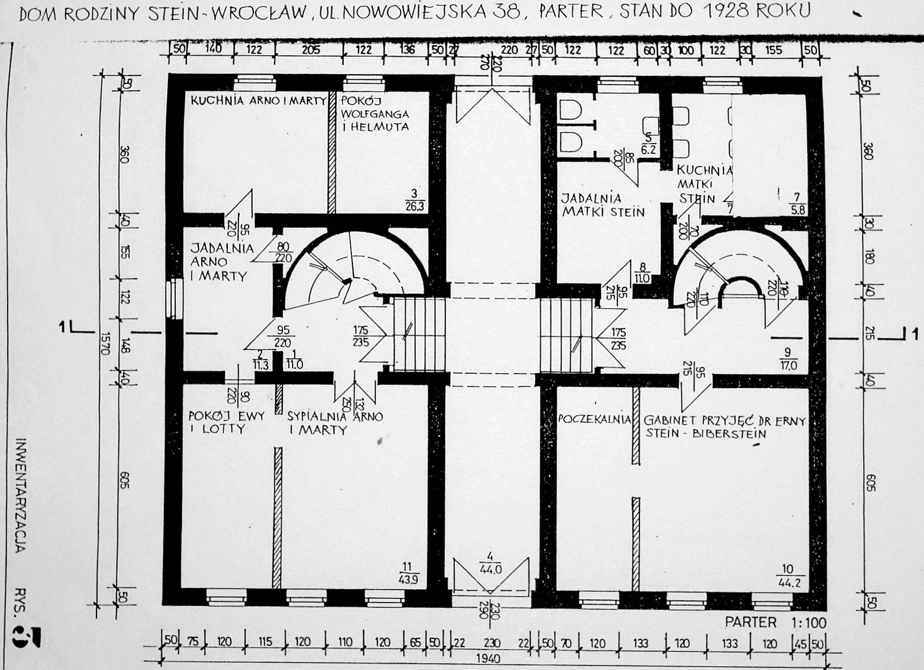 Plan domu Steinów przy Michaelisstrasse 38 weWrocławiu przed1928 rokiem, parter, archiwum Towarzystwa im.Edyty Stein weWrocławiu.